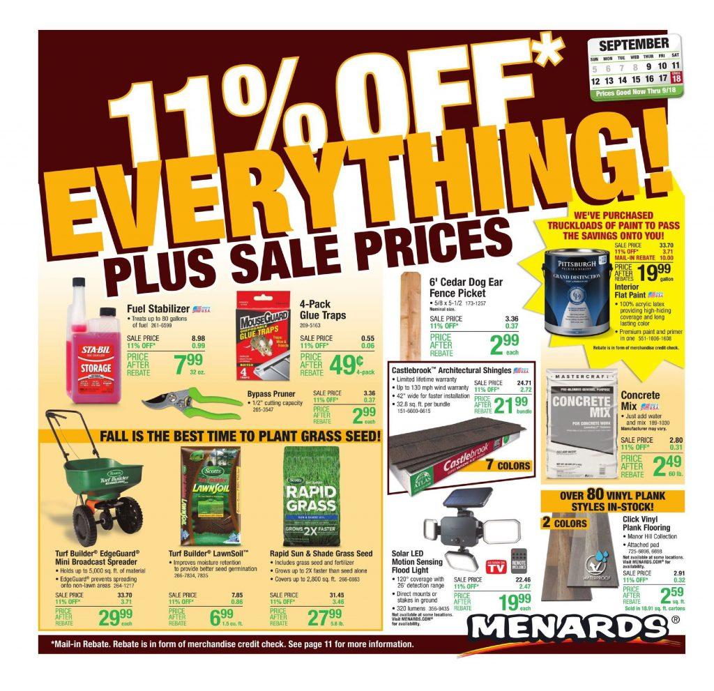 Menards Weekly ad Flyer September 12 – September 18, 2021