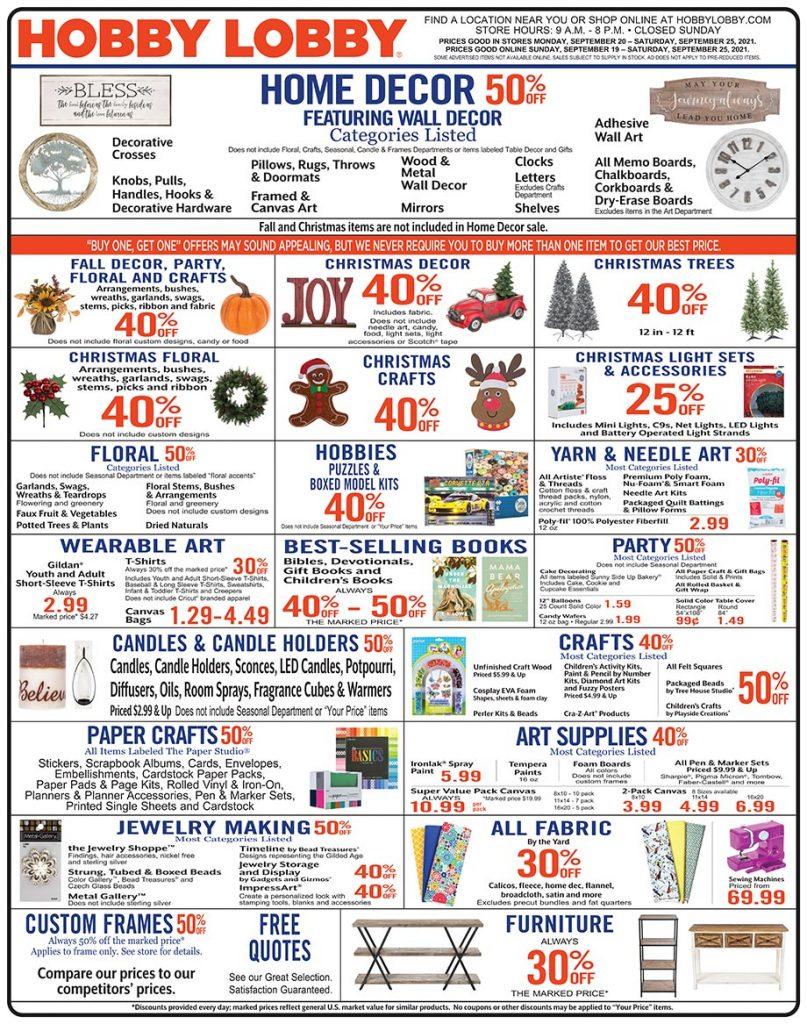 Hobby Lobby Weekly Ad September 19 – September 25, 2021